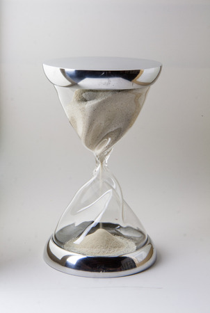 hourglass closeup with twisted glass and steel closure