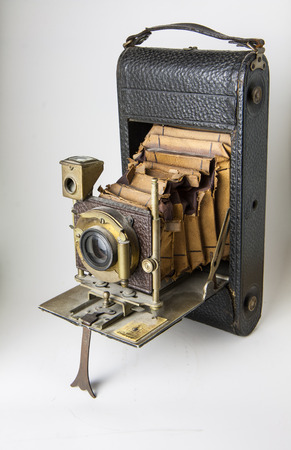 redstone: closeup of old bellows camera with slabs of exposure