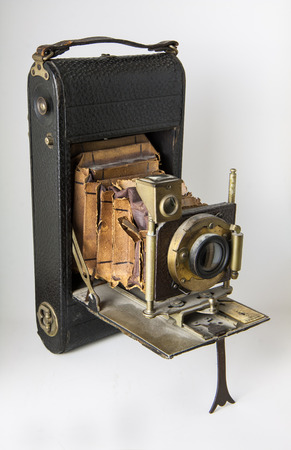 closeup of old bellows camera with slabs of exposure