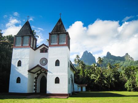 polynesia: Island Morea, French Polynesia, view of the church Stock Photo