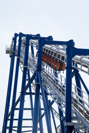 thrill: detail of modern roller coaster amusement park Italy