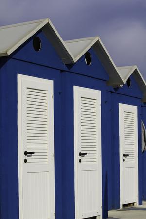 rimini: blue and white cabin beach in Rimini, Adriatic sea