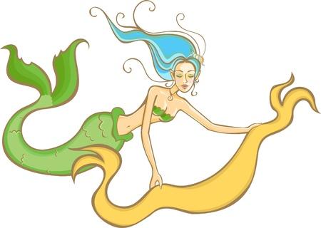 Mermaid is holding blank canvas banner Illustration