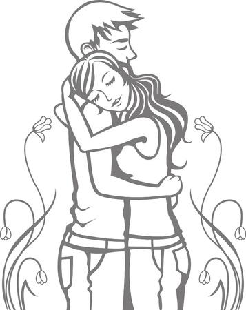 Romantic hugging couple