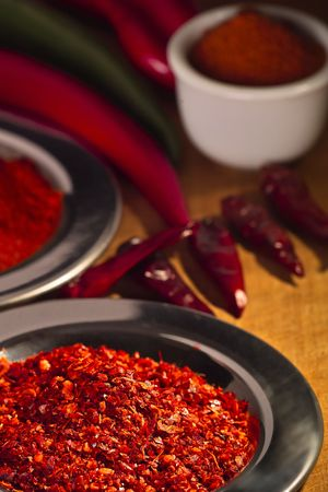 ground pepper,paprika on plates for the cuisine
