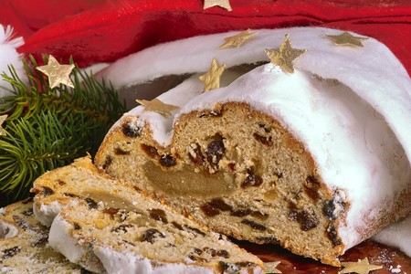 traditional german christmas cake with powdered sugar