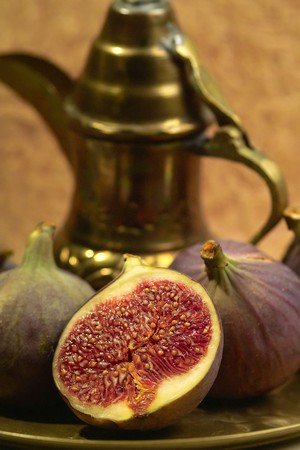 fresh halved fig on a plate
