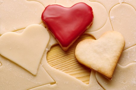 heart biscuits and dough  Stock Photo - 7636710