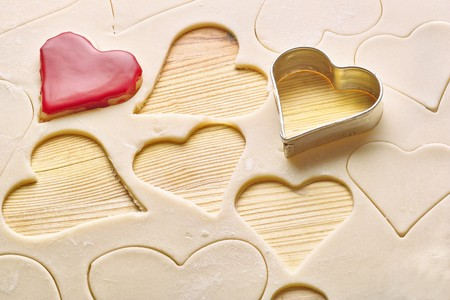 heart biscuits and dough  Stock Photo