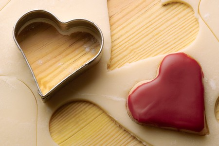 yule tide: heart biscuits and dough  Stock Photo