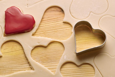 flatly: heart biscuits and dough  Stock Photo