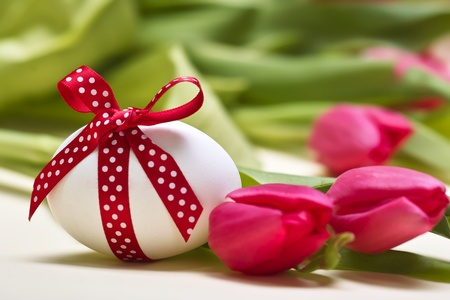 Easter egg with spotted with red loop before tulips