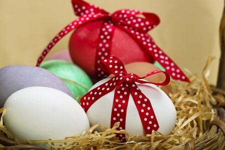 Easter eggs with spotted  red loop