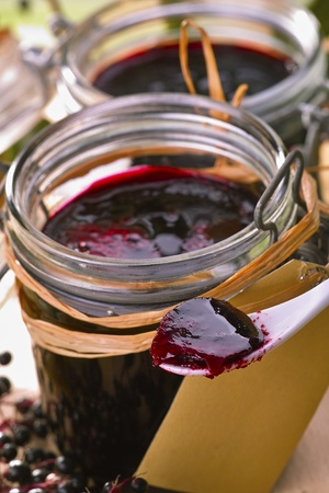 home-made elder jelly in glasses with fresh fruits Stock Photo