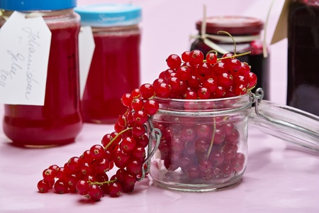 Currants in the glass for the jelly preparation