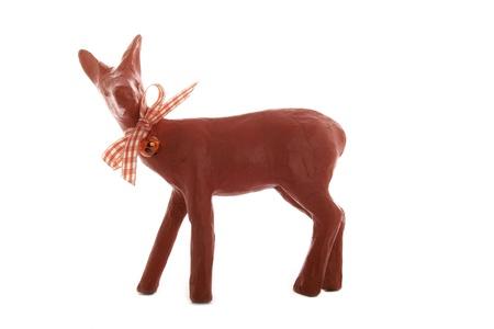 Christmas figure roe deer before white background