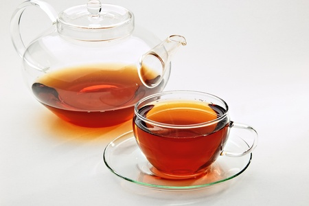 Tea in a glass-cup Stock Photo