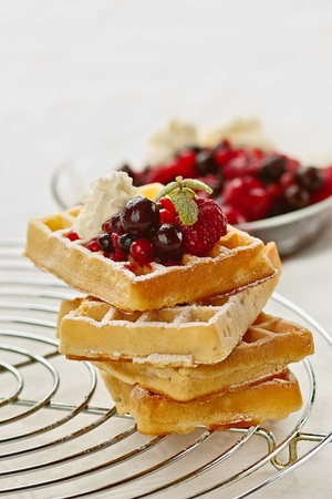 Fresh waffles with fruits