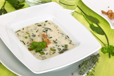 In the foreground a white plate fullly with herbal soup  Beside teller lie different fresh herbs  Stock Photo