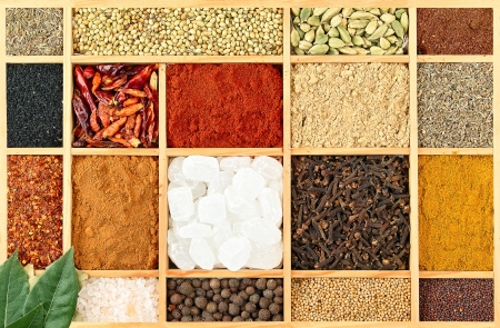 letter case: several spices in a letter case Stock Photo