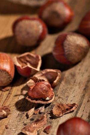 Several hazelnuts on a wooden board