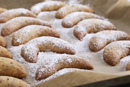 vanilla croissants on a baking paper photo
