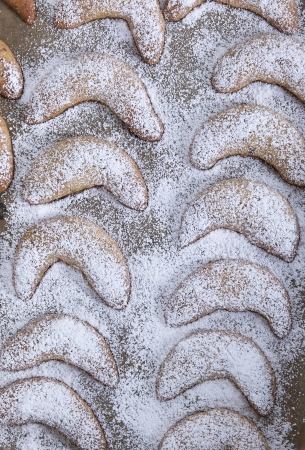 christmas tide:  vanilla croissants on a baking paper Stock Photo