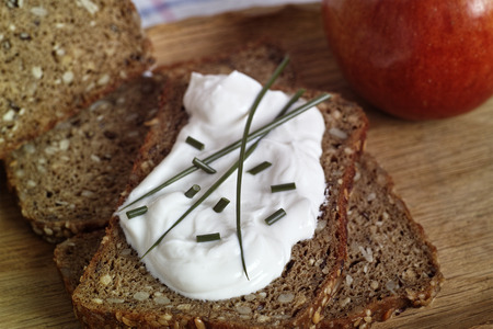 carb: low carb bread with curd and  herbs
