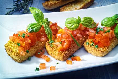 Bruschetta appetizers on a platter Stock Photo