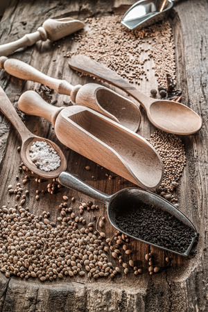 Spices on a wooden cutting board