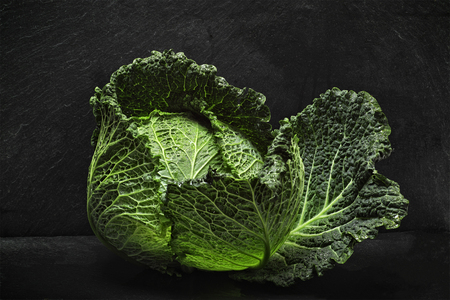savoy: Savoy cabbage against dark background Stock Photo