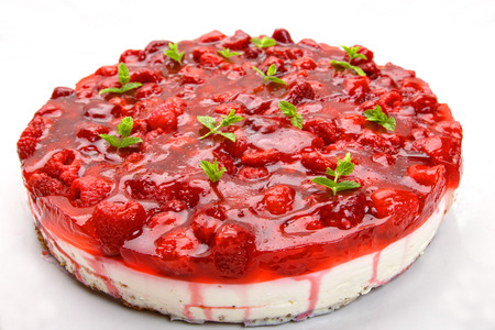 Raspberry Cake on bright background