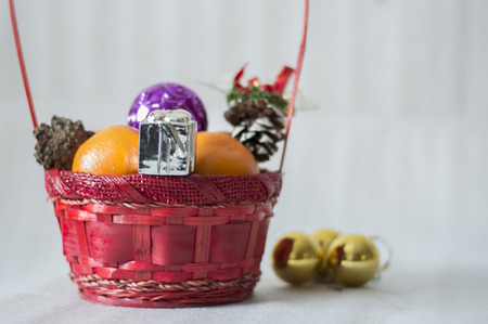 christmas ornamentation: Background with festive basket Stock Photo
