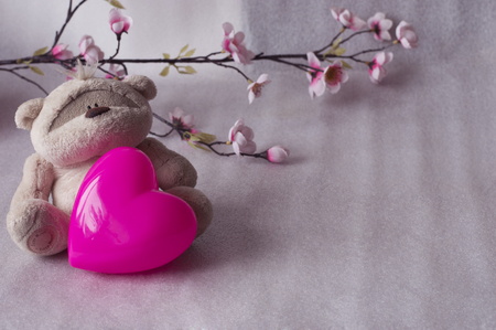 valentine s day teddy bear: Cute teddy bear with valentine