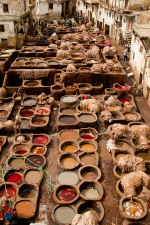 fez: Morocco, Fez, Tannery  Editorial