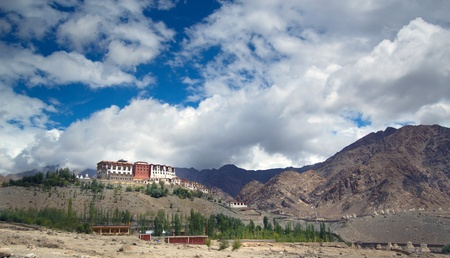 Big Indian monastery complexed located inside of Indian Himalaya summit  photo
