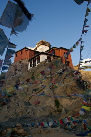 Leh monastery  located  ontop of the city Leh. Picture in vertical position  photo