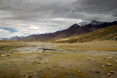 himalaya: Nice Leh Valley landscape, with nice colors and dark clouds  Stock Photo