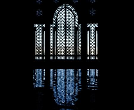 门和窗口剪影,哈桑二世清真寺,卡萨布兰卡