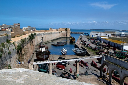 el: Old abandoned  harbor with many old and abonded ship, located in El Jadida, Marocco.  Stock Photo