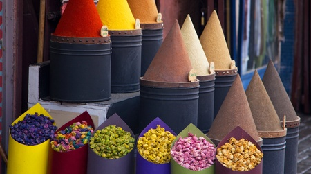 morocco: Spices and flower  shop in Fez, Morocco
