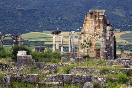 declared: Old ruins of Roman City entrance, Volubilis in Morocco. it is declared a UNESCO World Heritage site.