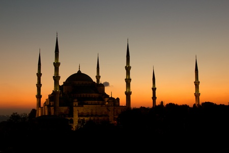 constantinople: The Beatiful Blue Mosqu with all 6 minarets, normaly mosque have 4 minarets
