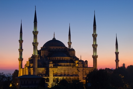 aya: Blue Mosque in Turkey, with beautiful sunset scene in background of picture