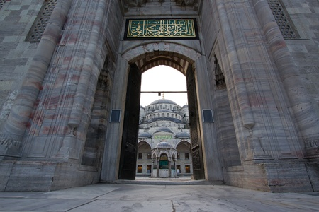 istanbul night: Huge gate as entrance into Blue Mosque,  Istanbul
