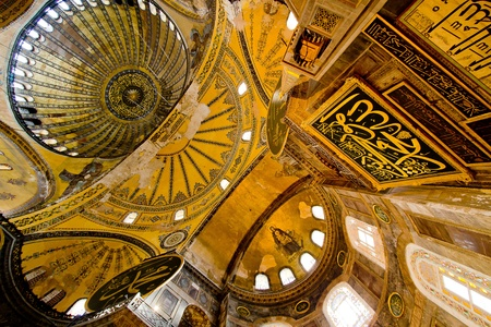 Inside detail and decoration of Haga Sophia Mosque, Istanbul, Turkey