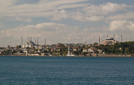 Panoramic picture of Blue Mosque and Hagia Sophia together photo