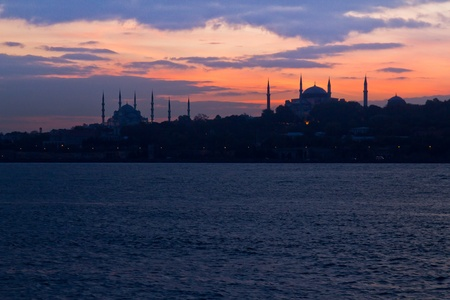 hagia sophia: Panoramic picture of Blue Mosque and Hagia Sophia together Stock Photo