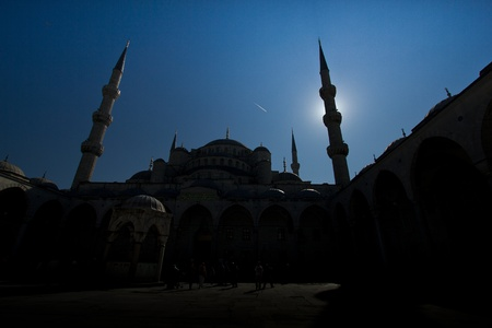 Picture inside of Blue Mosque located in Istanbul, Turkey photo