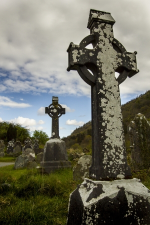 Two celtis cross located on local graveyard in Wicklow National Park photo